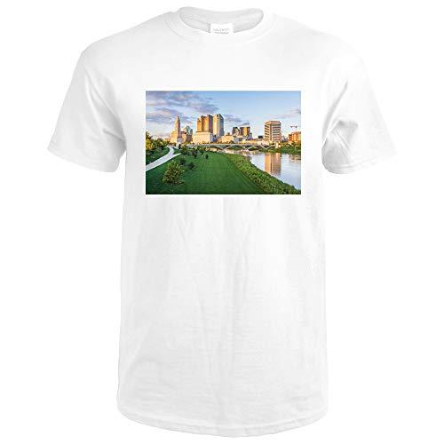 Columbus, Ohio, Columbus Skyline at Dusk, Photograph A-92080 92080 (Premium White T-Shirt Small)