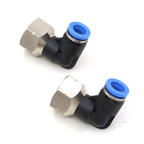 "3/8 NPT Elbow Push Connect Fittings 90 Degree 8mm Od x 3/8"" Npt Female Air Line Fittings Push in Connectors Pneumatic Fittings Tube Fittings Push Lock Fittings 2Packs"