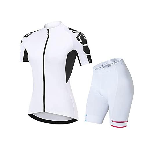 LSZ Tute da Ciclismo da Donna, Maglie da Ciclismo A Maniche Corte Traspiranti Estive con Pantaloncini con Bretelle Imbottite in Gel 9D Pantaloni per Bici da Corsa Squadra di Biciclette
