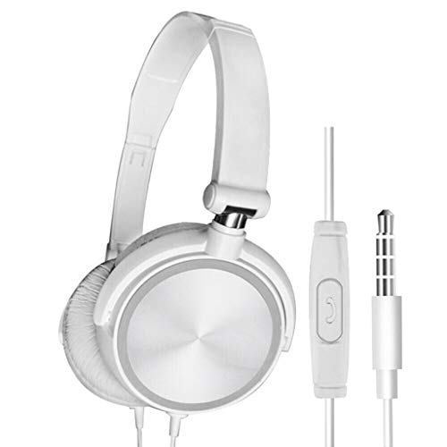 Han Shi Wired 3.5mm Jack Stereo Headset Deep Bass Foldable Headphones with Microphone, Adjustable Over-Ear Earphone for Mp3/4 Cellphones Computer(White)