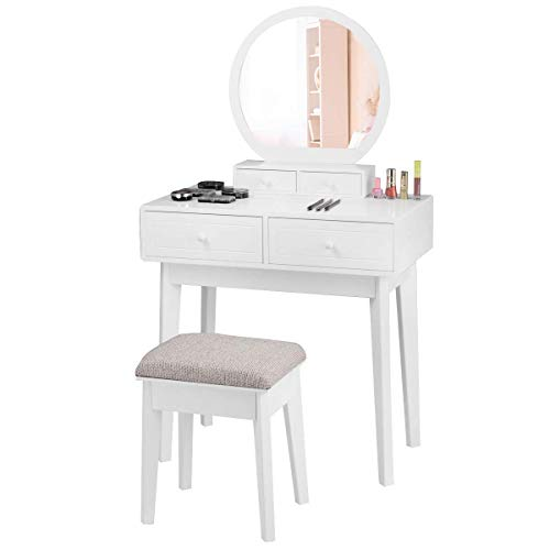 COSTWAY Tocador Mesa de Maquillaje con Espejo Taburete de Madera con 4 Cajones Juego de Tocador Belleza Almacenamiento Blanco