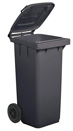 Bidone carrellato per la raccolta differenziata rifiuti Mobil Plastic 120 Lt per uso esterno - grigio (UNI EN 840)
