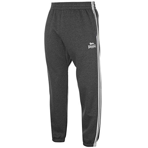 Lonsdale - Pantaloni da jogging da uomo a 2 strisce con coulisse Charcoal/bianco. L