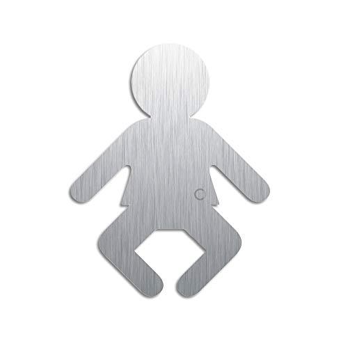 Türschild Wickelraum | Edelstahl Piktogramm-Baby | H=100 mm | selbstklebend | Original aus der Ofform Edelstahlschilder-Kollektion | Nr.1080