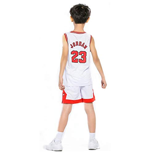 Yueyue Kind Jersey Bulls Vintage NBA-Champion Michael Jordan Jersey Chicago Bulls Nr. 23 Mesh Basketball Swingman Jersey (Jordan-Weiß, XL)