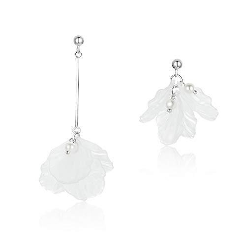 Bloem Bloemblaadjes Asymmetrie Lange Dangle Oorbellen Zilver 925 Vrouwen Wit Parel Drop Oorbel Mode sieraden Hot Sale