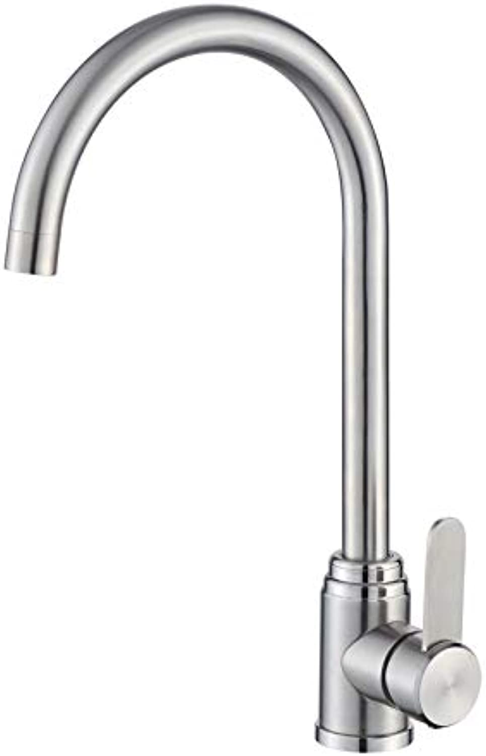 Zwj-song Kitchen Cold and hot Water Faucet Kitchen Brass redary Nozzle Traditional Double Lever Single Handle Kitchen Sink redary Nozzle Double Nozzle Double Lever 317 Stainless Steel Mixer