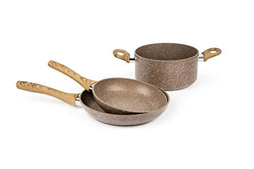 Excelsa Wood & Stone Poêle et casserole en aluminium forgé avec revêtement antiadhésif
