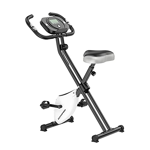 Folding Exercise Bike,Exercise Bikes for Home,Indoor Fitness Cycling bike with 8 Resistance Levels,LCD Monitor,Pulse Sensor,Workout Stationary Cycle Bike for Home Gym