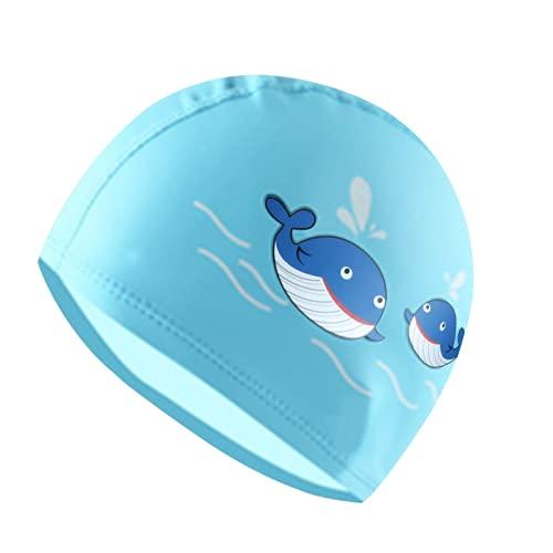 Gorra de natación para niños de 6 a 12 años, gorra de natación PU para niñas y niños (azul)