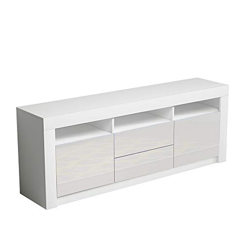 Panana Modern TV Stand Cabinet Unit High Gloss Fronts 160cm TV Entertainment Cabinet Media Television Stand with Multi-colour LED Lights Drawers Doors Living Room Furniture White