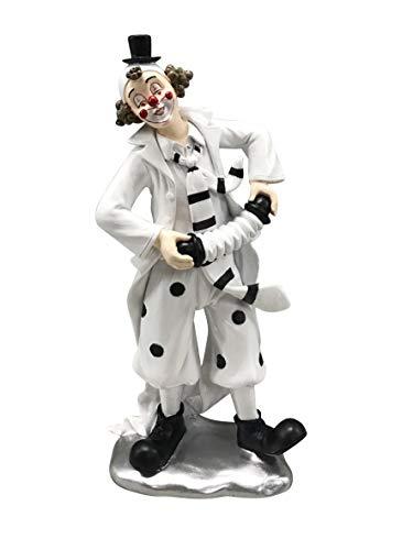 Oberle Dekofigur Musik Clown mit Akkordeon schwarz weiß 23,5cm Figur Karneval Harlekin