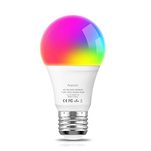 Smart Led Lampe E27 Wlan Mehrfarbige Dimmbare Lampe, Wifi Glühbirne Aoycocr Alexa Glühbirnen, A60, 6500 Kelvin, 750 Lumen, Ersetzt 70 W, Wifi Bulb Funktioniert mit Alexa Google Home