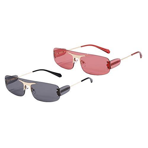 SM SunniMix 2X Gafas de Sol de Moda con Corte Rectangular para Mujer