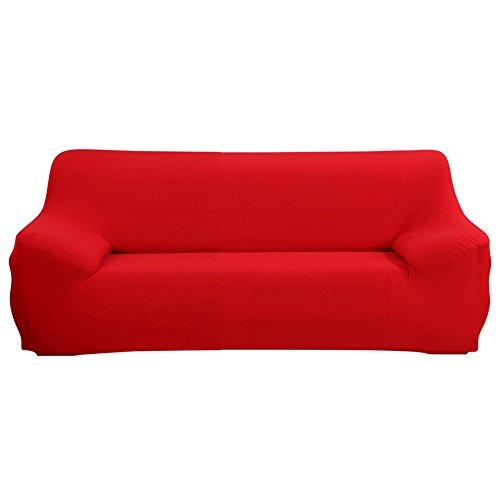 SHANNA - Funda elástica para sillones y sofás de 1, 2, 3 o 4plazas, cubierta antideslizante en tejido elástico extensible, protector, tela, Rojo, 3-Seater Chair + 1pcs Free Pillowcase