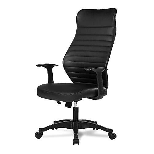 Silla de oficina silla de ordenador, silla de piel de oficina, casa, ergonómica, silla elevadora, silla giratoria, color negro simple y moderno