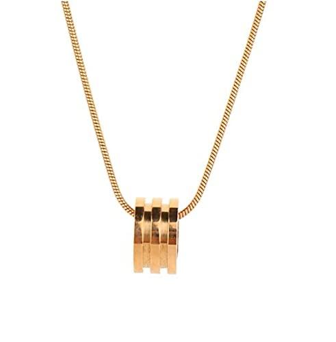 MENGHUA Collar de Oro Rosa de Acero de Titanio versátil Cilindro Redondo de Acero de Acero de Cadena de clavícula de Acero Femenino
