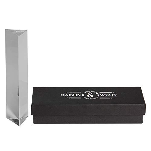 Maison & White Prisma de cristal claro | Lente de vidrio de 150 mm Cristal de foto | Enseanza del espectro de luz | Idea ideal de regalo