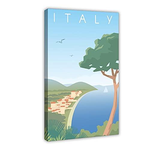 Italienisches Reise-Poster Natur Vintage Reise Weltkarte Stadt Retro Reise Italien Karte Leinwand Poster Schlafzimmer Dekor Pop Art Büro Zimmer Dekor Geschenk Rahmen: 60 × 90 cm
