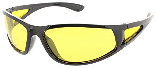 I-Sential Polarisierte Nachtsichtbrille Autofahren Schwarz Glänzend, Gelben Gläser Nachtsicht Brille Sonnenbrille + Fall und Tuch