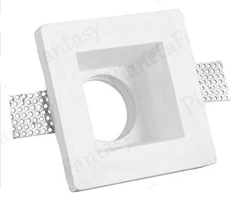 Porte spot carré en plâtre céramique à encastrer PF10 Evo lot de 10 pièces + ressort blocage ampoule