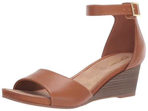 Kenneth Cole REACTION Women's Roll Wedge Ankle Strap Sandal, Tan, 8.5 M US Brown Peep Toe Pump