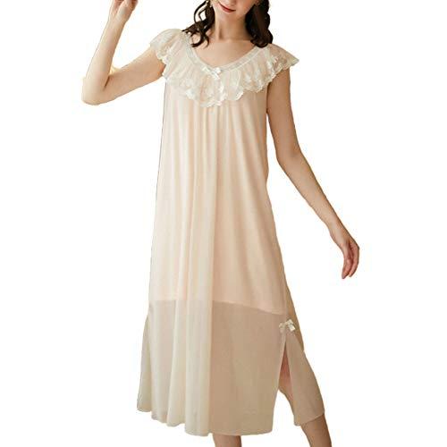 Saoye Fashion Pyjamas Dames Robes De Princesse De Modal Grandes Tailles Mode Vêtements de Fiesta Automne Printemps Comfortably Nuit En Vrac Essential Basic Pyjama (Color : Light Pink, One Size : L)