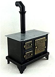 Melody Jane Dolls Houses House Miniature Kitchen Furniture Old Fashioned Black Range Cooker Stove