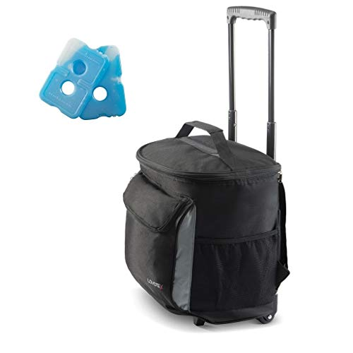 2 in 1 Insulated Rolling Cooler Backpack with Wheels Roller Bag, Insulated Leak Proof, Roller Backpack Lunch Bag for Men and Women, Camping, Picnics, Hiking, Insulated Roller Bag - Fits 40 Cans