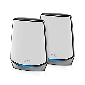 NETGEAR Orbi Whole Home Tri-band Mesh WiFi 6 System  RBK852  – Router with 1 Satellite Extender   Coverage up to 5,000 sq ft 100 Devices   AX6000  Up to 6Gbps