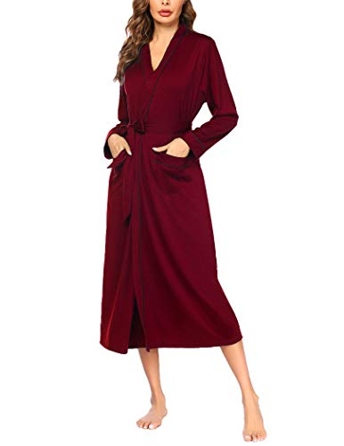 Ekouaer Womens Robes Lightweight Cotton Long Sleeve Robe Lounge Robes Long Thin Robes for Women