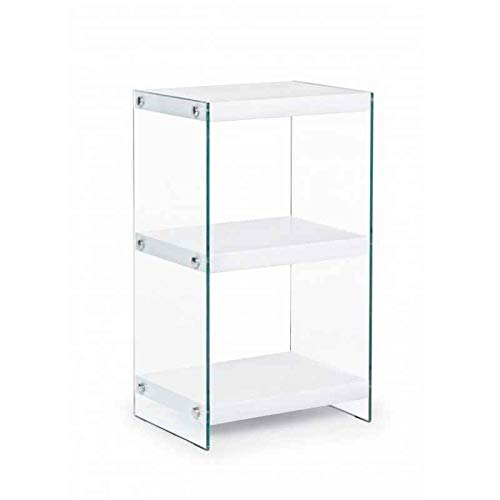 Fashion Commerce Libreria Line, Bianco in MDF e Vetro, 40 x 30 x 70 cm