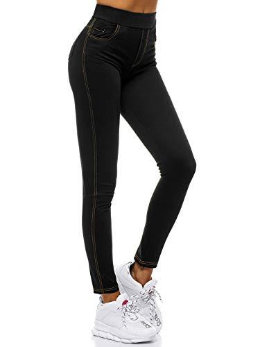 OZONEE Damen Jeggings Skinny Jeans Hose Optik Jeanshose Damenjeans Leggings Treggings Leggins High Waist Lang Hüfthoch Hohe Taille Hochbund Röhrenjeans JS/1016/A1 SCHWARZ XXL