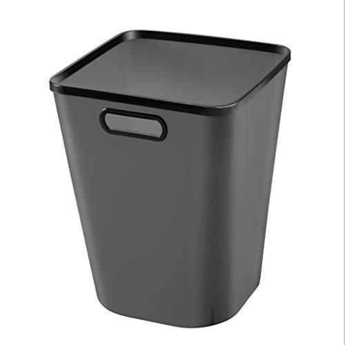 LYLY Basura simple para el hogar con anillo de prensado puede ser portátil y de gran capacidad, respetuoso con el medio ambiente, para uso doméstico, papelera de cocina (color: negro, tamaño: L)