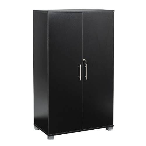 Black Office Storage Cupboard 2 Door LockingBookcase 120cm Tall