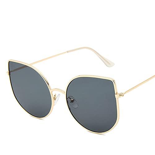 Gafas De Sol De Ojo De Gato para Mujer, Diseñador De Marca De Moda Sexi, Gafas Retro para Hombre, Montura Metálica, Gafas De Sol para Mujer, Goldgray