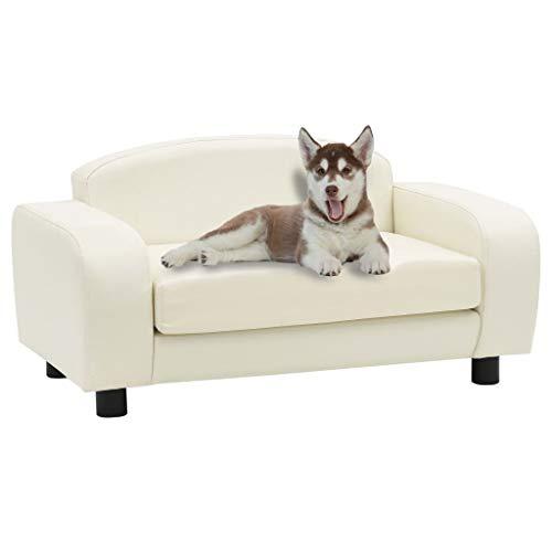 Cuccia Per Cani Divano per Cani Bianco Crema 80x50x40 cm in Similpelle Per Cani Taglia Grande Lettino Per Cani Cuccia Per Cani Da Interno Materassino Per Cani