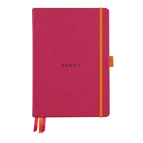 Clairefontaine 118782C – Cuaderno RHODIARAMA Goalbook reborde rígido 14, 8 x 21 cm, 240 páginas de puntos pequeños (DOT), papel marfil numerado 90 g, cierre elástico y portabolígrafos, tapa frambuesa
