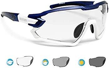BERTONI Sport Sunglasses Cycling MTB Running Ski Golf BERTONI Sport Sunglasses Cycling MTB Running Ski Golf Removable Sport Prescription Carrier Include mod. QUASAR (Blue-White / Photochromic)