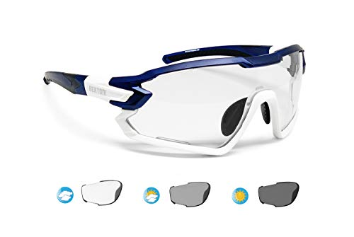 BERTONI Fahrradbrille Sport Sonnenbrille Radbrille MTB mit Sehstärke für Brillenträger mod. Quasar (Blau-Weiß/Selbsttönende)