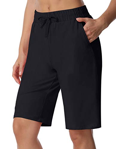 ChinFun Women's Bermuda Shorts Athletic Active Yoga Lounge Quick Dry Activewear Workout Soft Knit French Terry Sweat Running Shorts with Deep Pockets Black Size XL