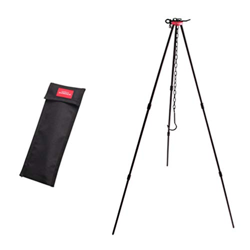 BESPORTBLE 1 Set Camping Tripod Portable Outdoor Cooking Tripod Campfire Cooking Dutch Oven Holder Hanging Pot Grill Stand with Chain for Picnic Cookware Accessory