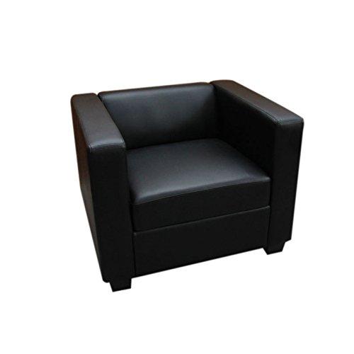 Mendler Sessel Loungesessel Lille ~ Leder, schwarz