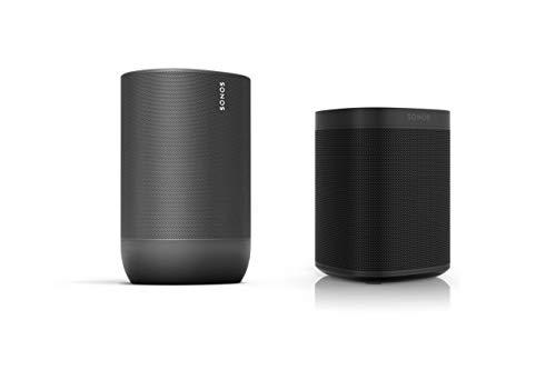 Sonos Move Smart Speaker - Indoor-Outdoor Set (1x Sonos Move schwarz + 1x Sonos One Gen. 2 schwarz)