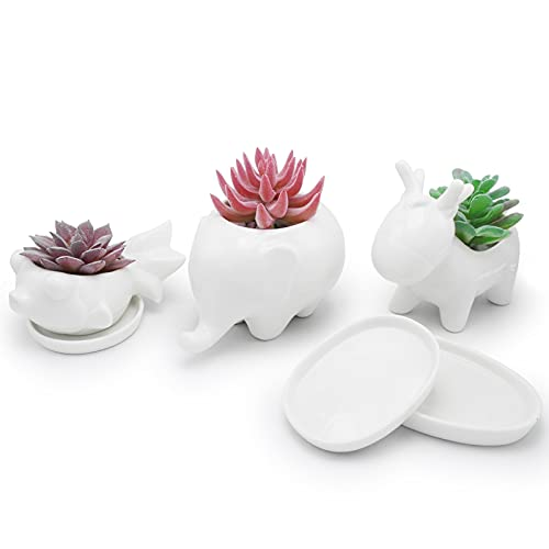 Kocris Casa Succulent Animal Pots with Saucer Drainage Hole Ceramic Tray 3 Inch Little Cactus Nursing Pot Planter for Small Plant Indoor Office Flower Mini Tiny - 3 Pack Set Fish Deer Elephant