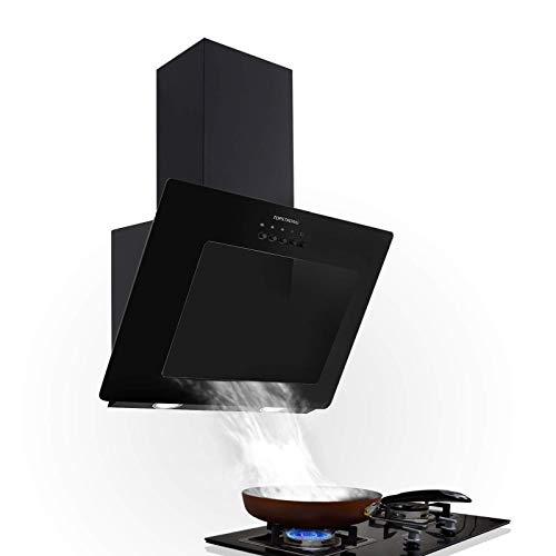 TopStrong Hotte Aspirante Inclinee 60cm,350 m³/h Hotte de cusine silencieuse,Hotte noir décorative,Verre & Inox,éclairage LED,Recyclage ou...