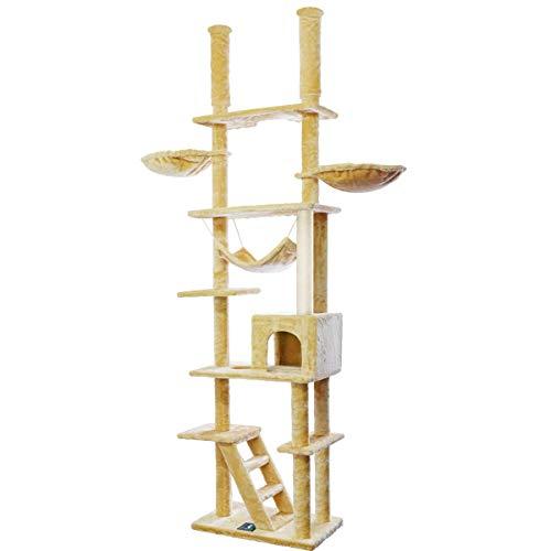 ottostyle.jp キャットツリー[EAGLE TWIN TOWER] 突っ張り式 ツインタワー 【モスグリーン】 幅123cm×奥...