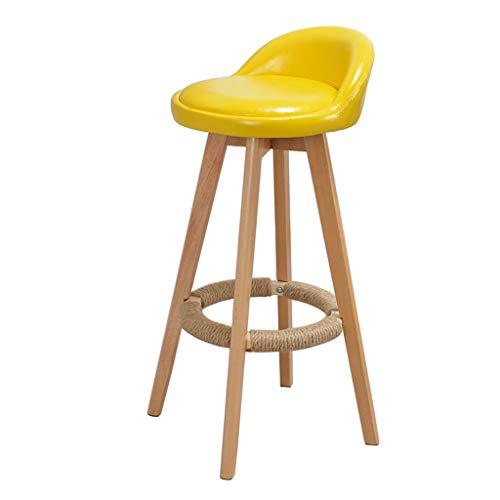 Tabouret de bar Style Moderne Chaise De Bar Mobilier Comptoir Cuisine Tournant Petit Déjeuner Tabouret Jambe En Bois Coussin Jaune (Hauteur De L'assise: 73CM)
