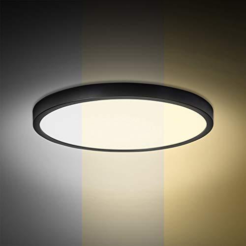Combuh Lámpara de techo 28W 2520LM 6500K/4500K/3000K Regulable Temperatura de Color LED Plafón Negro para Cocina, Dormitorio, Sala de estar, Oficina Φ30cm