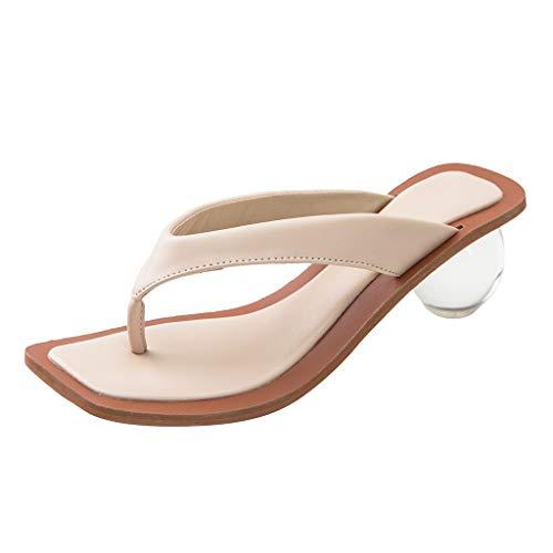BASACA Damen Schuhe Zehentrenner Sandaletten Sandalen mit rundem Absatz Open Toe Outdoorschuhe Sommerschuhe Hausschuhe Strandspaziergänge Hausschuhe Clogs Strandschuhe (Beige, 39.5)